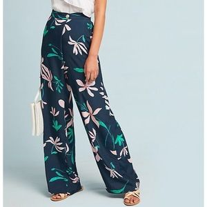 Anthropologie Floral Wide Leg Hattie Pants
